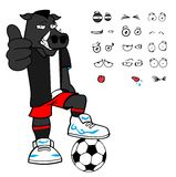 Funny Wild boar soccer cartoon expressions set Stock Images