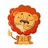 Funny wild cartoon lion with nice kind look. Wild animals. Funny wild cartoon lion with nice kind look. Wild animals from zoo. Wild lion inhabitant on plains of Royalty Free Stock Image