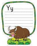 Funny wild yak, illustration for ABC. Alphabet Y. Children vector illustration of funny grazing wild yak. Alphabet Y. Including frame with dotted lines and place Stock Images