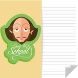 Funny William Shakespeare Cartoon Portrait Stock Images