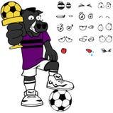 Funny winner Wild boar soccer cartoon expressions set Stock Image