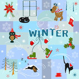 Funny winter background Stock Images
