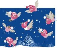 Funny winter birds. Vector illustration of funny birds enjoying snow Stock Illustration
