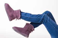 Funny winter boots. Royalty Free Stock Photo
