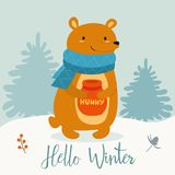 Funny winter card with cartoon bear and honey. Vector illustration with text. New Year`s poster. Funny winter card with cartoon bear and honey. Vector vector illustration