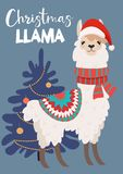Funny winter card with a cartoon llama Vector Christmas illustration with text. New Year`s poster. Funny winter card with a cartoon llama Vector Christmas royalty free illustration