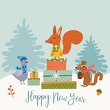 Funny winter card with a cartoon squirrel, dove, chipmunk and gifts. Vector illustration with text. New Year`s poster. Funny winter card with a cartoon squirrel vector illustration