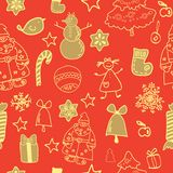Funny winter christmas vector seamless pattern Stock Images