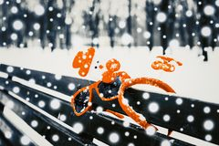 Funny winter composition with christmas accessories royalty free stock photography