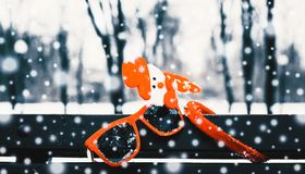 Funny winter composition with christmas accessories royalty free stock image