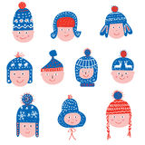 Funny winter hats set - sketchy style Royalty Free Stock Images