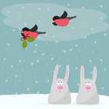 Funny winter holidays card background with cute cartoon rabbits Stock Photography