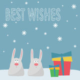 Funny winter holidays card background with cute cartoon rabbits, Royalty Free Stock Photo