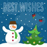 Funny winter holidays card background with snowman, fir and snow Royalty Free Stock Photography