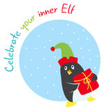 Funny winter holidays card with penguin elf Royalty Free Stock Photos