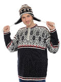 Funny winter men in warm hat and clothes. Stock Images