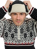 Funny winter men in warm hat and clothes. Stock Photography