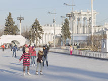 Funny winter vacation in Moscow Stock Photo