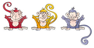 Funny wise monkeys Royalty Free Stock Image