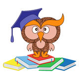 Funny wise owl sitting on the heap of books Stock Photography