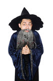 Funny wise wizard isolated. On the white Stock Photo