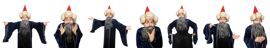 The funny wise wizard isolated on the white Royalty Free Stock Photos