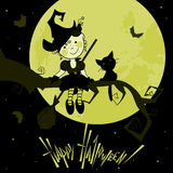 Funny witch. Card with the funny witch and a cat. A vector Stock Photography