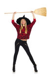 Funny witch with broom isolated Stock Photography