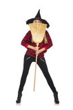 Funny witch with broom Royalty Free Stock Images