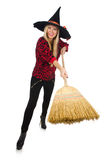 Funny witch with broom Royalty Free Stock Image