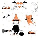 Funny witch and cat illustration. Hand drawn vector illustration of a funny cartoon witch girl in a hat, flying on a broomstick, and a cat with bat wings, with Stock Photos