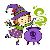Funny witch is cooking something poisonous in her cauldron on a white background. vector illustration