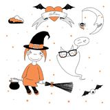 Funny witch and ghost illustration. Hand drawn vector illustration of a funny cartoon witch girl in a hat, flying on a broomstick, and a ghost saying Meow Nya in Royalty Free Stock Image