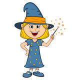 Funny witch, girl with halloween outfit cartoon Royalty Free Stock Image