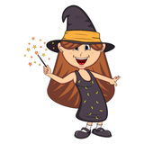Funny witch, girl with halloween outfit cartoon Royalty Free Stock Photography