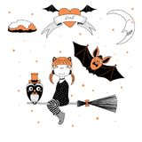 Funny witch, owl and bat illustration royalty free illustration
