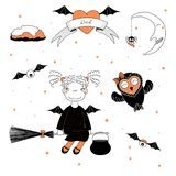 Funny witch and owl illustration. Hand drawn vector illustration of a funny witch girl with pig tails and bat wings, flying on a broomstick, and a cute owl, with Royalty Free Stock Photo