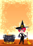 Funny witch with pot. Cartoon and vector illustration.  Proportions in A3 - A4 - 50x70 Royalty Free Stock Photos