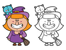 Funny Witch. Vector illustration coloring page of happy cartoon Witch with broomstick for children and scrap book vector illustration