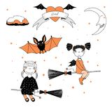 Funny witches and bat illustration. Hand drawn vector illustration of a funny cute cartoon witch girls with pig tails, horns, wings, flying on broomsticks, bat Royalty Free Stock Image