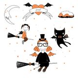 Funny witches and cat illustration. Hand drawn vector illustration of a funny cute cartoon witch girls with bat wings, flying on broomsticks, cat with a lollipop Royalty Free Stock Images