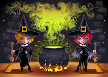 Funny witches with pot. Cartoon and vector illustration.  Proportions in A3 - A4 - 50x70 Stock Photo