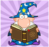 Funny Wizard Holding A Magic Book Stock Images