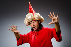 Funny wizard wearing Royalty Free Stock Photo