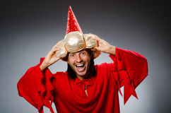 Funny wizard wearing Royalty Free Stock Image