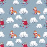 Funny wolf and fox pattern Royalty Free Stock Images