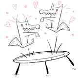Funny wolf jump on the trampoline. stock illustration