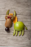 Funny wolf made of fruits Royalty Free Stock Images
