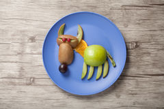 Funny wolf made of fruits Royalty Free Stock Photo