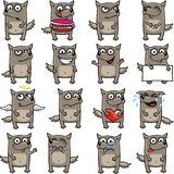 Funny wolves (1). 16 smiley wolves individually grouped for easy copy-n-paste. Vector Royalty Free Stock Image
